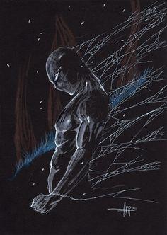 Spiderman on black paper  Comic Art