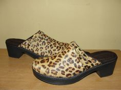 Lands End Womens Size 8B Leopard Print calf Hair Leather Slip On Clogs Shoes #LandsEnd #Clogs #Casual