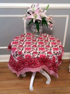 "41"" Square Block Print Scarf masquerading as a Table Cloth."