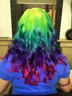 www.outrageousrainbows.com | Neon candy rainbow hair