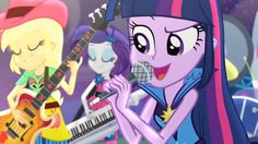 """Twilight, Applejack and Rarity rocking out in the new movie """"My Little Pony: Equestria Girls - Friendship Games"""" coming to DVD, Bluray and digital on October 13, 2015!"""