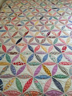 Pristine Orange Peel Quilt -Vintage Fabric & Totally Hand Quilted Beauty! by 9PatchBlock on Etsy