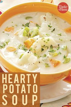 Hearty Potato Soup A comforting potato soup that doesn't feel heavy. Related posts: Panera Bread Baked Potato Soup Creamy Potato Bacon Soup Crockpot Potato Soup- an easy and delicious slow cooker dinner! Hearty Potato Soup Recipe, Best Potato Soup, Cheesy Potato Soup, Fall Soup Recipes, Baked Potato Soup, Healthy Potato Soup, Potato Recipes, Vegetable Potato Soup, Irish Potato Soup