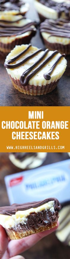 These Mini Chocolate Orange Cheesecakes have a buttery graham-cracker crust and chocolate and orange layers, and are topped with melted chocolate.