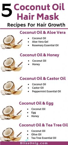 5 Best Coconut oil hair mask recipes for hair growth. Applying coconut oil for hair treatment helps you get rid of problems like dandruff, dry scalp, dry, damaged and frizzy hair and more. It also deeply conditions your hair and nourish your scalp to encourage healthy hair growth. Click to know more. #BeautyTipsForHair Coconut Hair Mask, Coconut Oil Hair Growth, Coconut Oil Hair Treatment, Dry Scalp Coconut Oil, Healthy Hair Growth, Hair Growth Tips, Hair Growth Mask Diy Recipes, Oil For Hair Growth, Homemade Hair Growth Oil