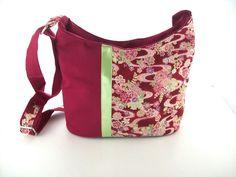 sac bandouliere bordeaux tissu japonais.sac bandouliere,sac a main tissu japonais ton bordeaux ,fabriqué en france. sacs femme par créatrice tchai ...