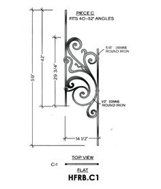 Rebecca Panel Piece C1 Flat Panel, Fits 40-52° Angled 14-1/2″ wide 59″ tall 5/8″ round bar stock This is the Rebecca C1 wrought iron panel made by Regency Railings. It is a flat panel that fits 23-39° angles.