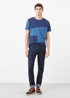 Patchwork t-shirt | MANGO MAN