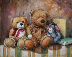 Teddy and Friends (I love you Eyore! Teddy Bear Cartoon, Cute Teddy Bears, Tatty Teddy, Photo Ours, Art D'ours, Bear Paintings, Love Bears All Things, Teddy Bear Pictures, Decoupage Vintage