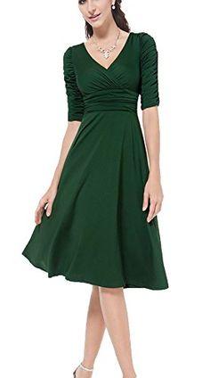 Viwenni Women 3/4 Sleeve Ruched Waist Classy V-Neck Casual Cocktail Dress (Large, Green) Viwenni http://www.amazon.com/dp/B01411STWE/ref=cm_sw_r_pi_dp_iGq.vb1RPX09D