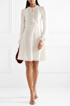 Ivory silk-crepe and lace Concealed hook and zip fastening at back 100% silk Dry clean Made in Italy