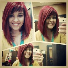 long bob red hairy this look is awesome.