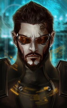 "Portrait of Adam Jensen from the game ""Deus Ex: Human Revolution,"" released by Square Enix for Windows PCs and consoles in 2011."