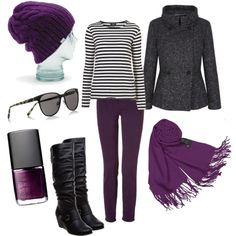 Purple and grey and black