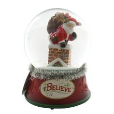 Santa In Chimney Musical Snowglobe Snow Globe / Water Globe