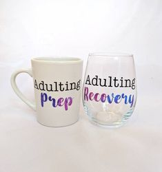 Coffee Mug and Wine Glass Set - Customizable - Adulting Prep and Adulting Recovery - Funny Coffee Mug and Wine Glass Funny Coffee Mugs, Coffee Humor, Wine By The Glass, Star Coffee, Patterned Vinyl, Glass Photo, Adulting, Recovery, Prepping