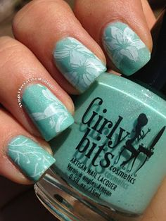 Girly Bits enJOYmint and stamping with Vivid Lacquer plate