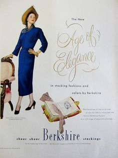 1948 Berkshire Stockings Vintage Advertisement by RelicEclectic, $8.00 #RelicEclectic #VintageAd #WallArt #fashion #BoutiqueDecor