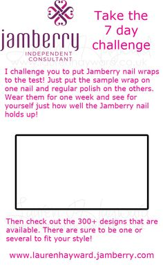 Jamberry Consultant 7 day challenge printable sheet. 9 to an A4 sheet. Perfectly sized for single samples in handbags by SerendipityCreate on Etsy