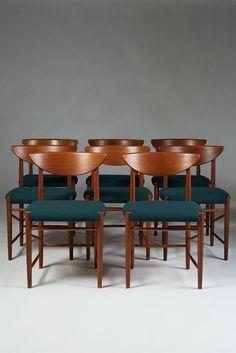 Peter Hvidt and Orla Möllgaard Nielsen; Teak Dining Chairs for Söborg Möbler, 1950s.