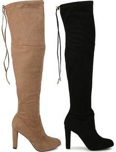 "Carvela ""Sammy"" High Heel Over The Knee Boots in nude and black suedette, $280 (Stuart Weitzman Highland dupes)"