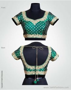 Rich Green & Gold Low Back Choli in pure Silk by  http://www.SakhiFashions.in/ Bangalore, Hyderabad, Online e-Store Rs 5950