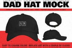 Dad Hat Mockup by 1126artstudio on  creativemarket Mockup Templates d20a8a9bec3f