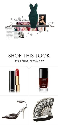 """Dita Von Teese"" by greensweetie ❤ liked on Polyvore featuring Dollhouse, Chanel, René Caovilla, Judith Leiber and vintage"