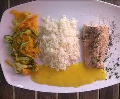 Rezept Lachs mit Mangosauce, Reis und Gemüse(all-in-one) von kedgeree - Rezept der Kategorie Hauptgerichte mit Fisch & Meeresfrüchten