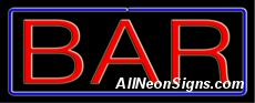 """Bar Neon Sign-10495  13"""" Wide x 32"""" Tall x 3"""" Deep  110 volt U.L. 2161 transformers  Cool, Quiet, Energy Efficient  Hardware & chain are included  6' Power cord  For indoor use only  1 Year Warranty/electrical components  1 Year Warranty/standard transformers."""