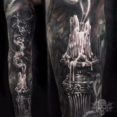 #JavierAntunez #blackandgrey #realistic #skull #candle