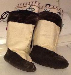 Inuit made child's sealskin kamiks by Susie Kilabuk