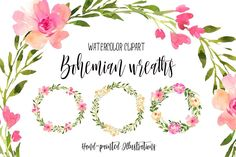 Coming to you with love from Annely Blooms, a set of Free Watercolor Bohemian Wreaths! These wreaths are the perfect