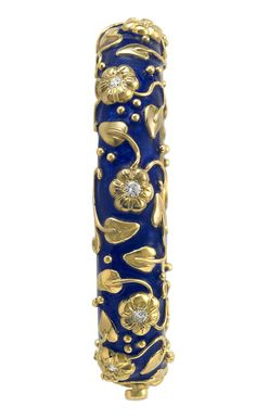 ELIZABETH GAGE, Royal Blue Bangle decorated with gold flower motifs set diamonds, gold carved leaves, twining stems and bead detail.