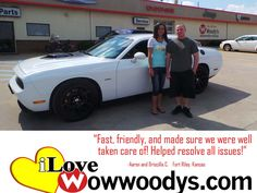 """""""Fast, friendly and made sure we were well taken care of. Helped resolve issues we had before purchasing vehicle."""" Aaron and Drisciall C. Fort Riley, Kansas"""