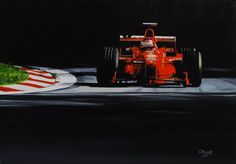 Michael Schumacher, Ferrari F300, GP Italy, Monza, 1998,  oil on canvas, 30*43 cm