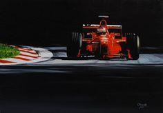 Michael Schumacher, Ferrari F300, GP Italy, Monza, 1998,  oil on canvas, 30*43 cm