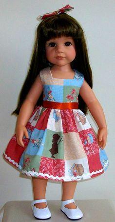 "Holly Hobbie dress, & hair bow for 18"" dolls Designafriend/Gotz Hannah dolls"