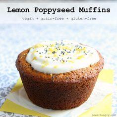Lemon Poppyseed Muffins - nondairy milk (she used almond), fresh lemon juice & zest, chickpea flour, cane sugar (sub another sweetener), coconut flour, baking soda, salt, coconut oil, poppy seeds, optional toppings (lemon nondairy yogurt [sub unflavored + sweetener + lemon juice/extract], lemon zest & poppy seeds), vanilla extract Coconut Muffins, Lemon Poppyseed Muffins, Vegan Muffins, Healthy Muffins, Healthy Desserts, Healthy Breads, Chickpea Flour Recipes, Coconut Flour Recipes, Coconut Oil
