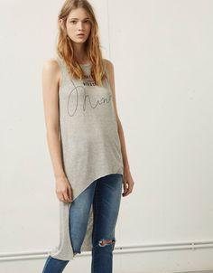 Bershka asymmetric print top - T- Shirts - Bershka United Kingdom