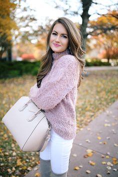 fuzzy sweater + Givenchy Antigona handbag