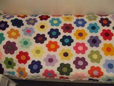 gehäkelte Tagesdecke, crochet bedspread, blanket, afghan, crochet grandmother's flower garden gfg.
