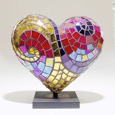 Nadia Khasagir 2014 Limited Edition Mini Mosaic Heart Sculpture - Hearts in SF Mosaic Art, Mosaic Glass, Mosaic Tiles, Fused Glass, Glass Art, Stained Glass, Heart In Nature, I Love Heart, Heart Shapes
