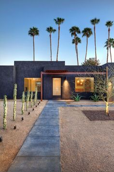 Architecture: Fascinating Entry With Line Concrete Pathway Black House Exterior Modern Landscape Design, Landscape Plans, Modern Landscaping, Yard Landscaping, Landscaping Ideas, Desert Landscape, Landscaping Company, Contemporary Design, Modern Design