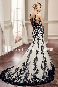 Can black and white lace wedding dresses