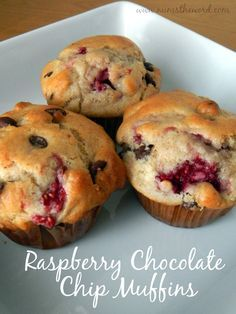 These Raspberry Chocolate Chip Muffins are delicious.  They make a quick breakfast or snack and are a great way to get some extra fruit into your diet!