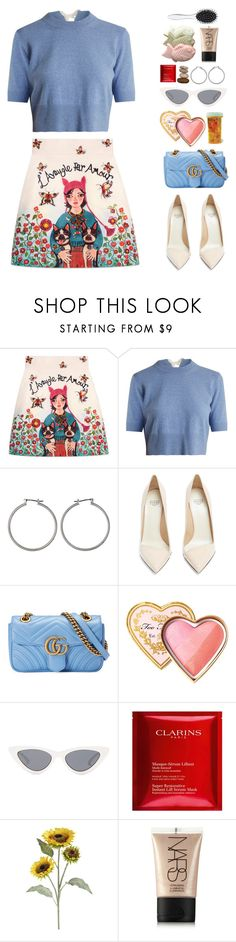 """""""1 - Don't Pick Up the Phone"""" by finding-0riginality ❤ liked on Polyvore featuring Gucci, Altuzarra, Francesco Russo, Too Faced Cosmetics, Le Specs, Clarins, Pier 1 Imports, NARS Cosmetics and New Look"""