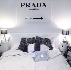 boho_addict black and white scandinavian bedroom prada marfa wall art marble macbook