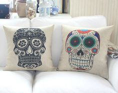 "18"" linen Fashion skulls style decorative Pillow Cover/pillow case/Can be customized pillow cases"