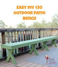 exterior, simple idea of long diy patio bench concept made of ... - Patio Bench Ideas